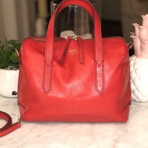 Fossil Smooth Tomato Red Leather Satchel Sydney 😎